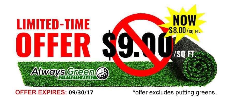 artificial grass cost per square foot